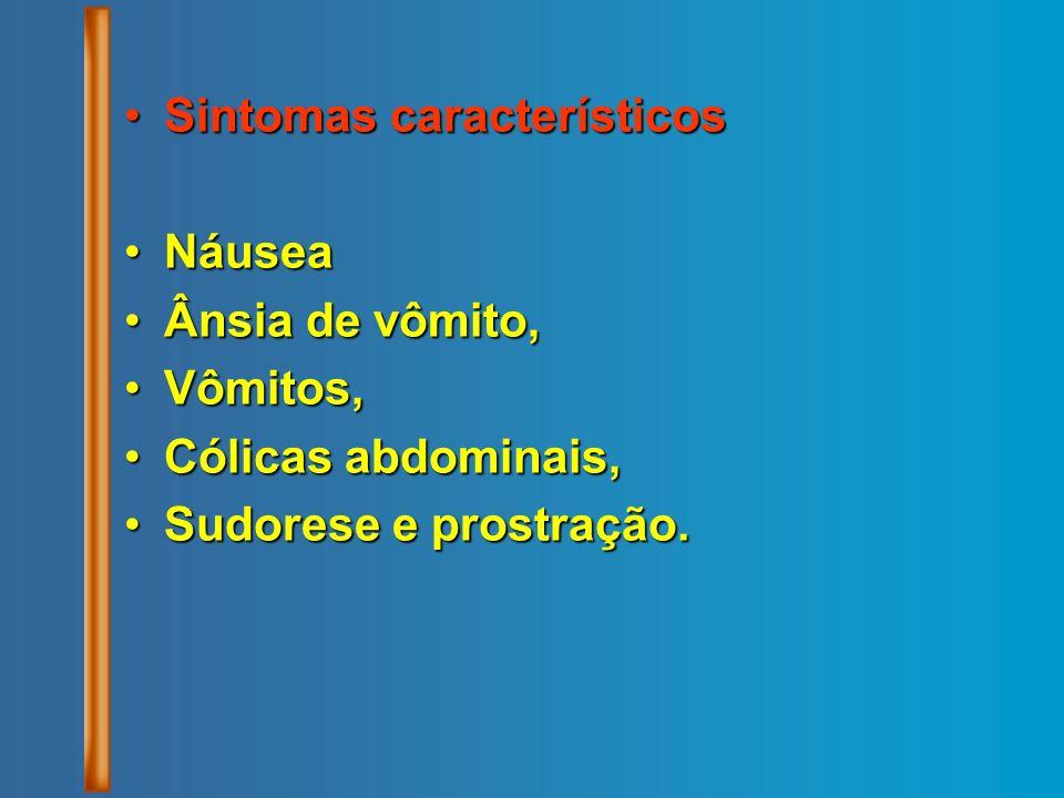 Sintomas característicosSintomas característicos NáuseaNáusea Ânsia de vômito,Ânsia de vômito, Vômitos,Vômitos, Cólicas abdominais,Cólicas abdominais,