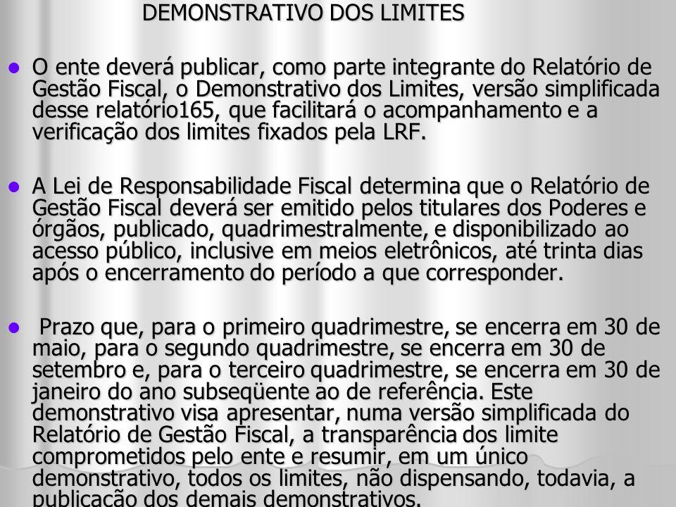 DEMONSTRATIVO DOS LIMITES O ente deverá publicar, como parte integrante do Relatório de Gestão Fiscal, o Demonstrativo dos Limites, versão simplificad