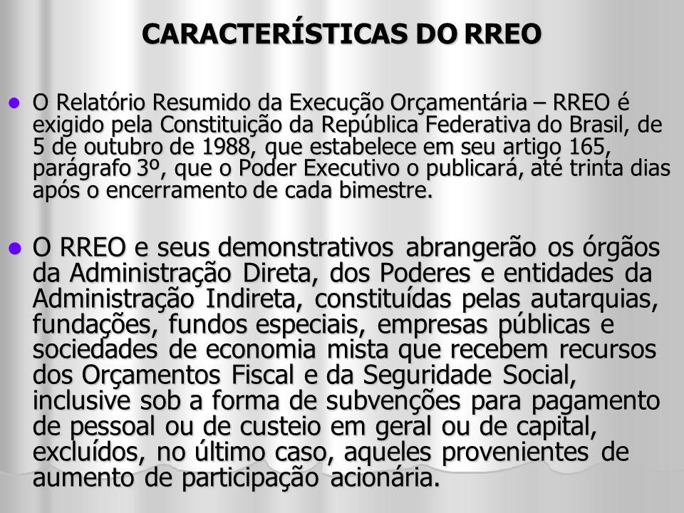 CARACTERÍSTICAS DO RREO O Relatório Resumido da Execução Orçamentária – RREO é exigido pela Constituição da República Federativa do Brasil, de 5 de ou