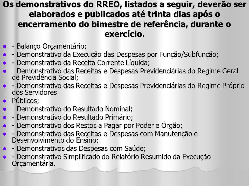 Os demonstrativos do RREO, listados a seguir, deverão ser elaborados e publicados até trinta dias após o encerramento do bimestre de referência, duran