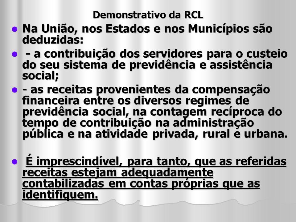 Demonstrativo da RCL Na União, nos Estados e nos Municípios são deduzidas: Na União, nos Estados e nos Municípios são deduzidas: - a contribuição dos