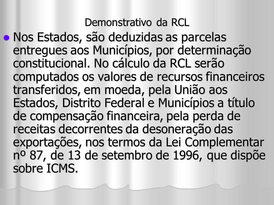 Demonstrativo da RCL Nos Estados, são deduzidas as parcelas entregues aos Municípios, por determinação constitucional. No cálculo da RCL serão computa