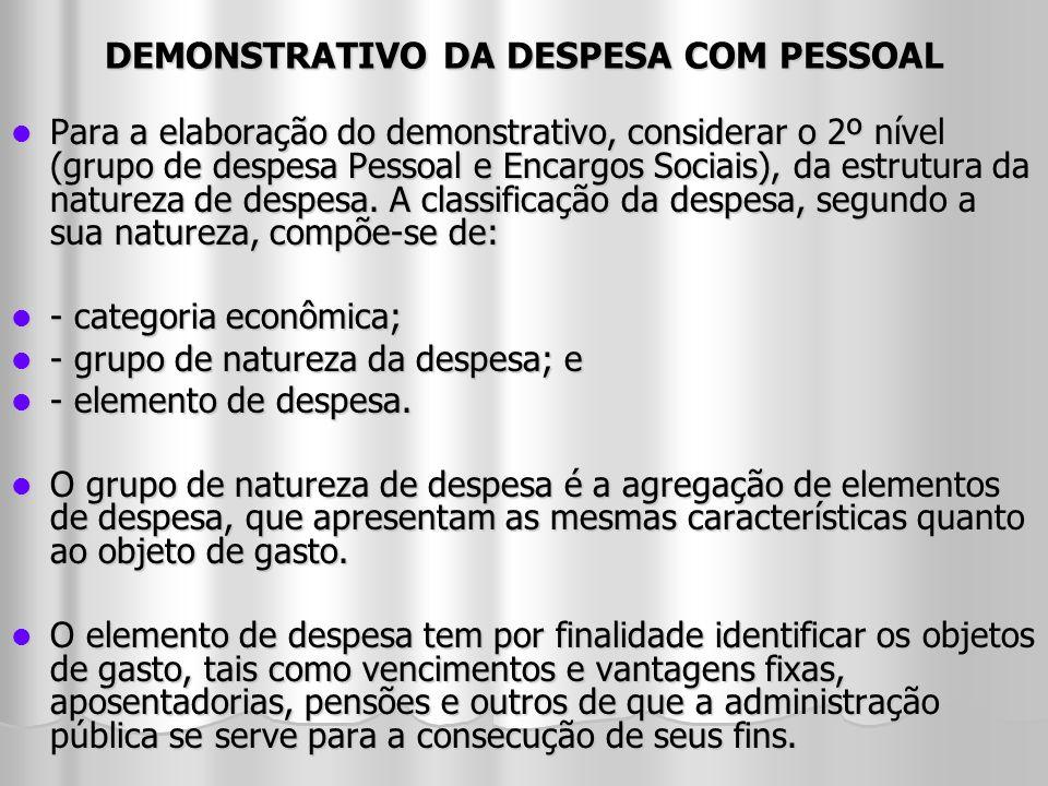 DEMONSTRATIVO DA DESPESA COM PESSOAL Para a elaboração do demonstrativo, considerar o 2º nível (grupo de despesa Pessoal e Encargos Sociais), da estru