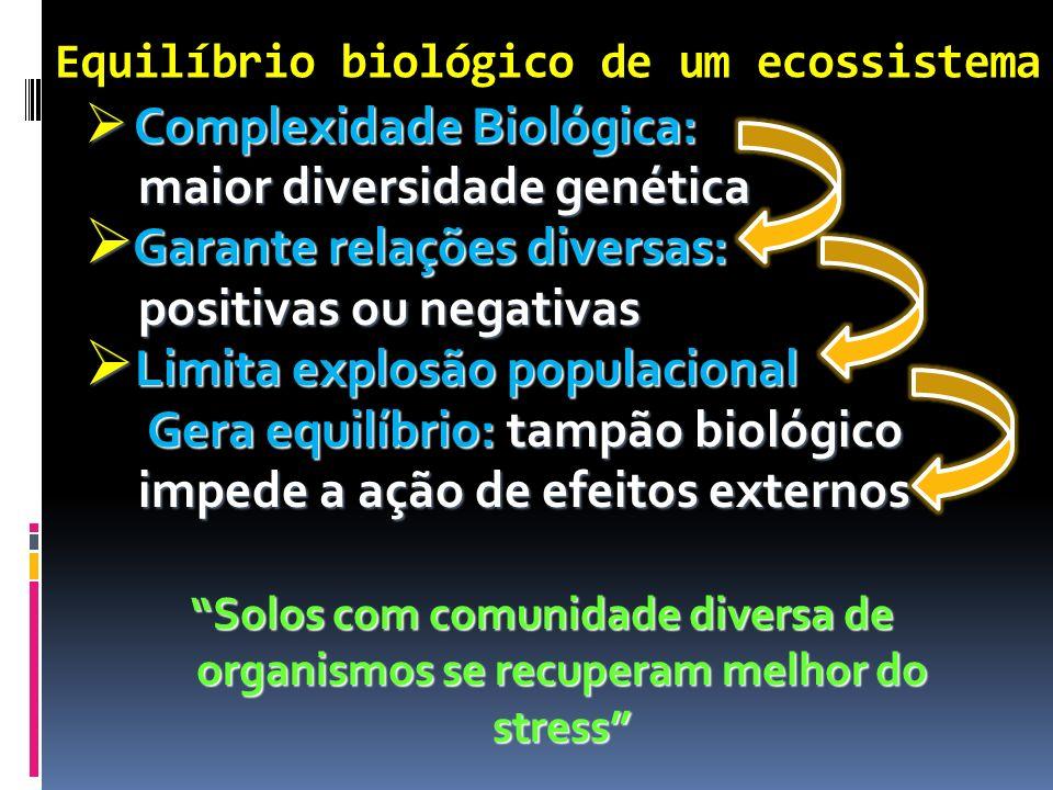 Complexidade Biológica: Complexidade Biológica: maior diversidade genética maior diversidade genética Garante relações diversas: Garante relações dive