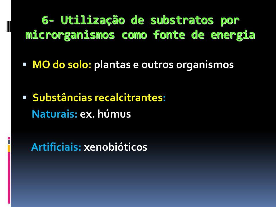 6- Utilização de substratos por microrganismos como fonte de energia MO do solo: plantas e outros organismos Substâncias recalcitrantes: Naturais: ex.