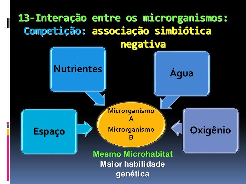 13-Interação entre os microrganismos: Competição: associação simbiótica negativa Microrganismo A Microrganismo B EspaçoNutrientesÁguaOxigênio Mesmo Mi