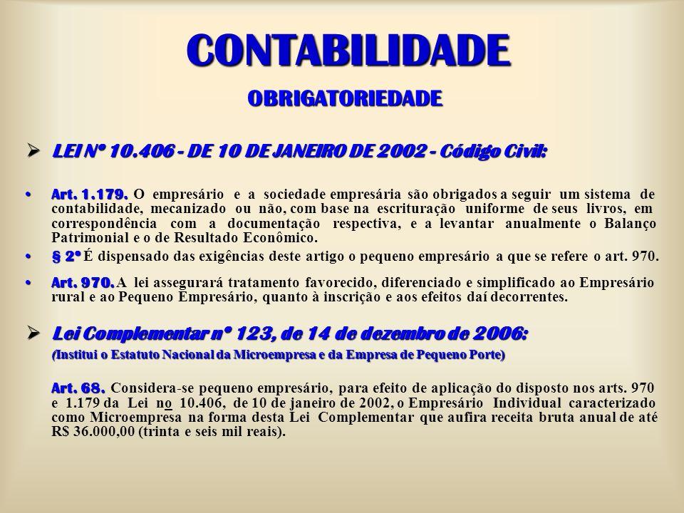 CONTABILIDADE OBRIGATORIEDADE LEI Nº 10.406 - DE 10 DE JANEIRO DE 2002 - Código Civil: LEI Nº 10.406 - DE 10 DE JANEIRO DE 2002 - Código Civil: Art. 1