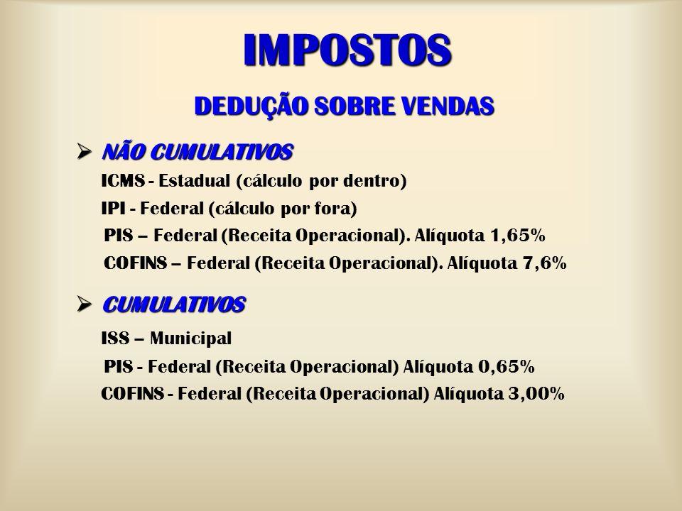IMPOSTOS DEDUÇÃO SOBRE VENDAS NÃO CUMULATIVOS NÃO CUMULATIVOS ICMS - Estadual (cálculo por dentro) IPI - Federal (cálculo por fora) PIS – Federal (Rec