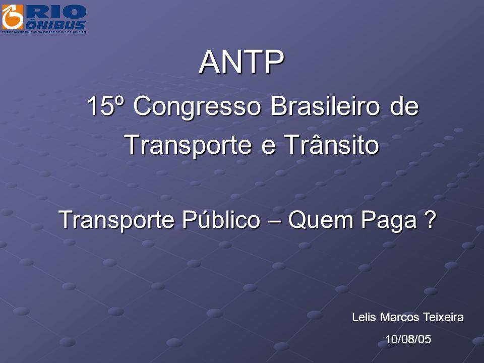 ANTP 15º Congresso Brasileiro de 15º Congresso Brasileiro de Transporte e Trânsito Transporte e Trânsito Transporte Público – Quem Paga ? Lelis Marcos