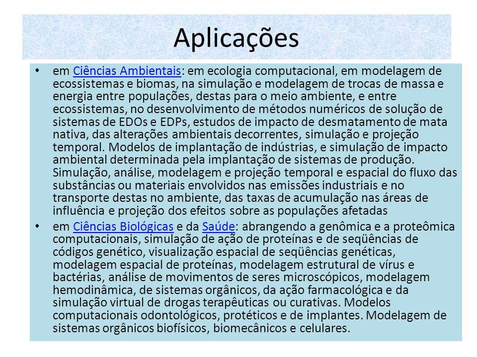 Aplicações em Ciências Ambientais: em ecologia computacional, em modelagem de ecossistemas e biomas, na simulação e modelagem de trocas de massa e ene