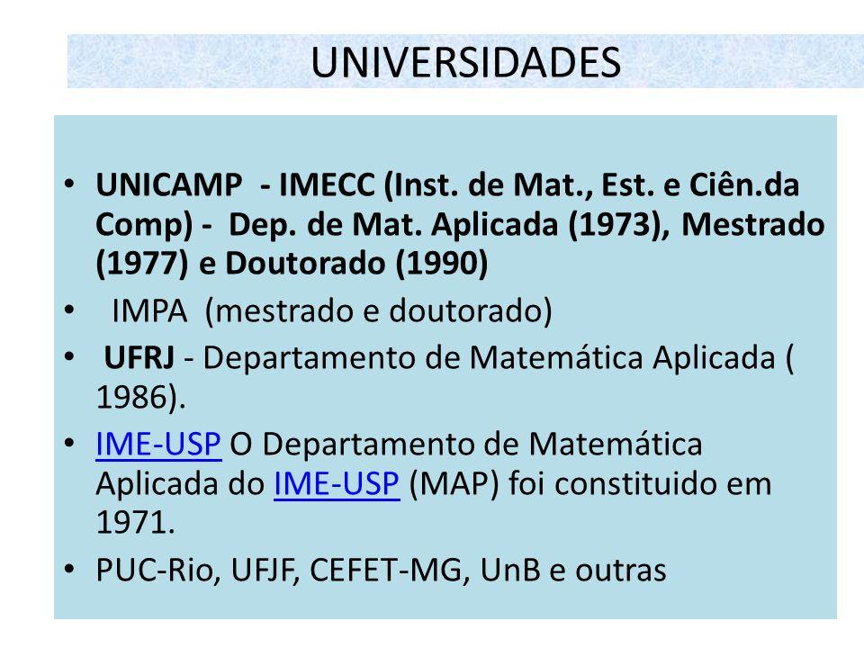 UNIVERSIDADES UNICAMP - IMECC (Inst. de Mat., Est. e Ciên.da Comp) - Dep. de Mat. Aplicada (1973), Mestrado (1977) e Doutorado (1990) IMPA (mestrado e