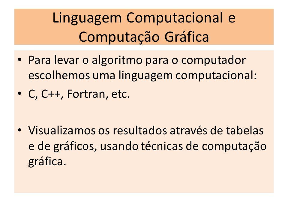 Linguagem Computacional e Computação Gráfica Para levar o algoritmo para o computador escolhemos uma linguagem computacional: C, C++, Fortran, etc. Vi