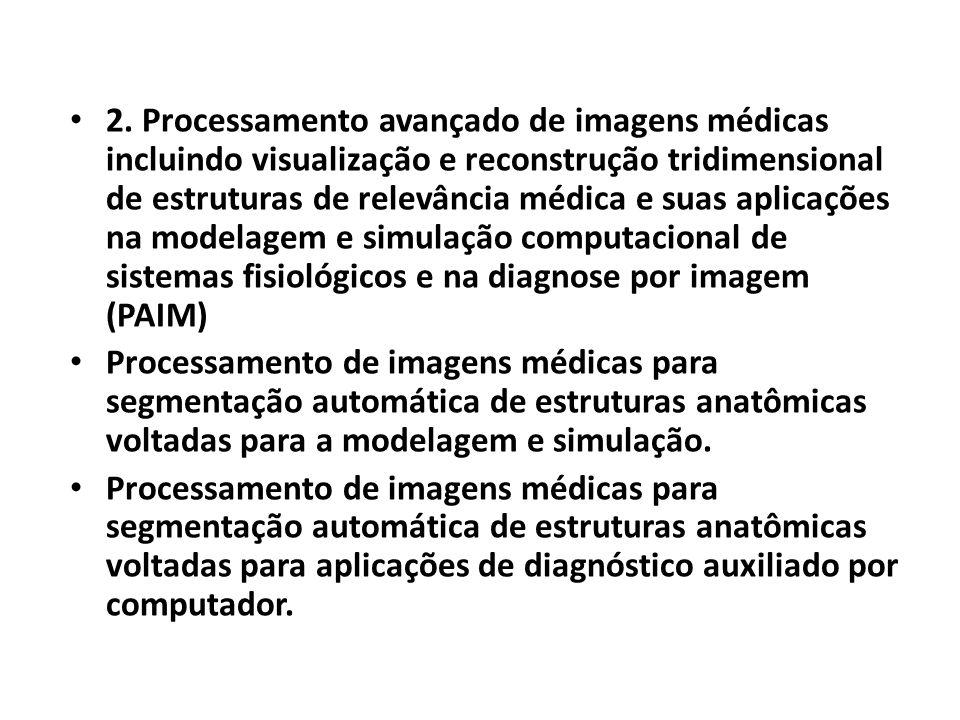 2. Processamento avançado de imagens médicas incluindo visualização e reconstrução tridimensional de estruturas de relevância médica e suas aplicações