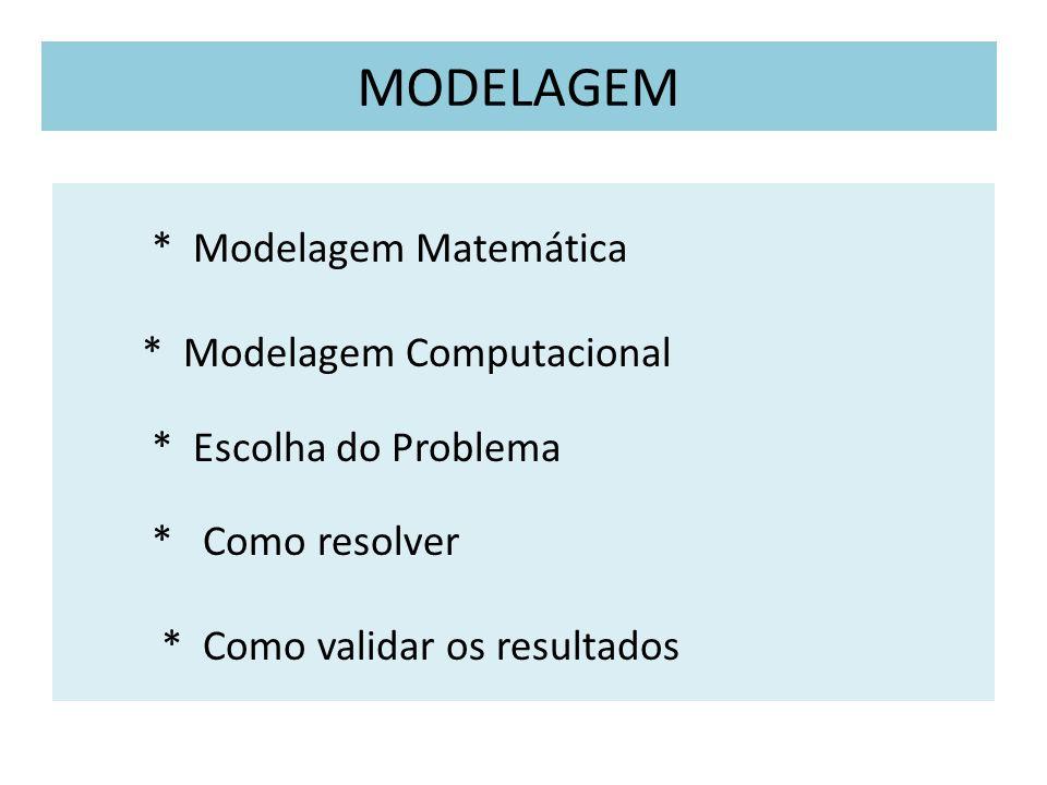 MODELAGEM * Modelagem Matemática * Modelagem Computacional * Escolha do Problema * Como resolver * Como validar os resultados