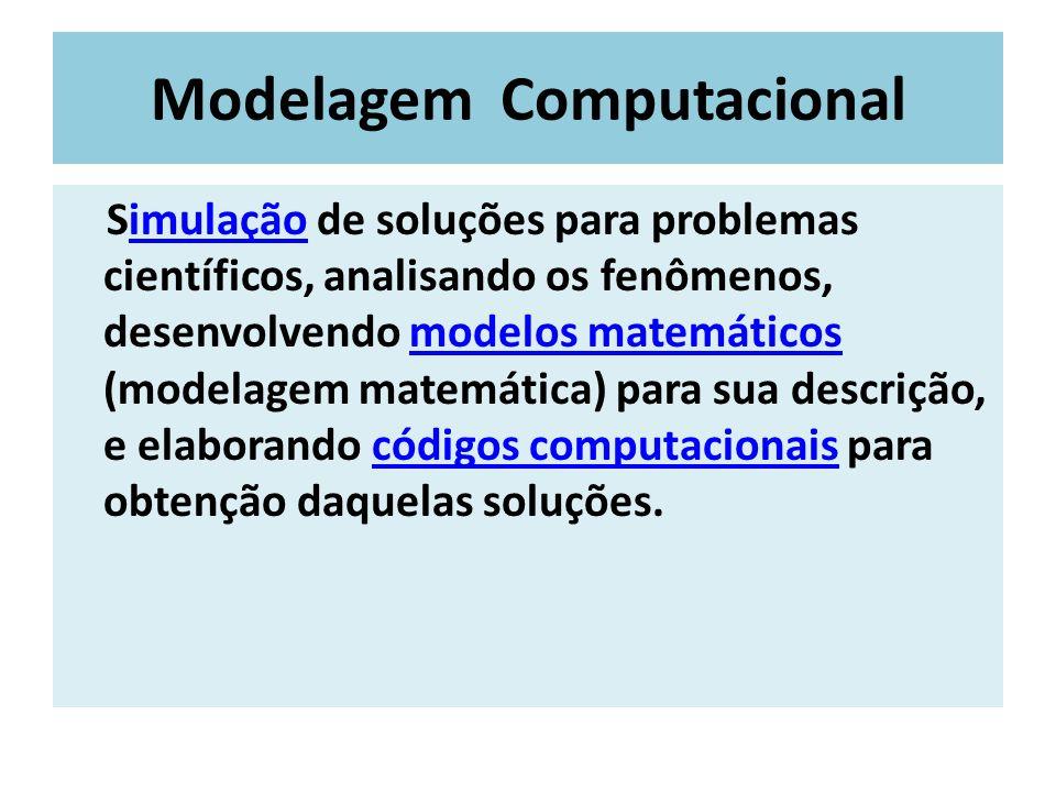 Modelagem Computacional Simulação de soluções para problemas científicos, analisando os fenômenos, desenvolvendo modelos matemáticos (modelagem matemá