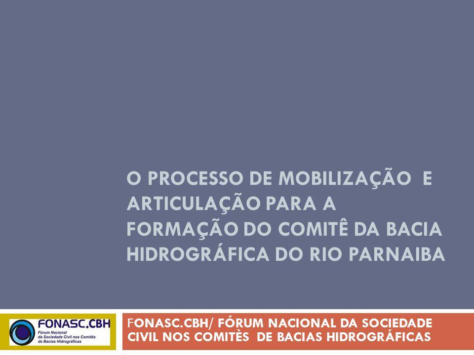 O PROCESSO DE MOBILIZAÇÃO E ARTICULAÇÃO PARA A FORMAÇÃO DO COMITÊ DA BACIA HIDROGRÁFICA DO RIO PARNAIBA FONASC.CBH/ FÓRUM NACIONAL DA SOCIEDADE CIVIL