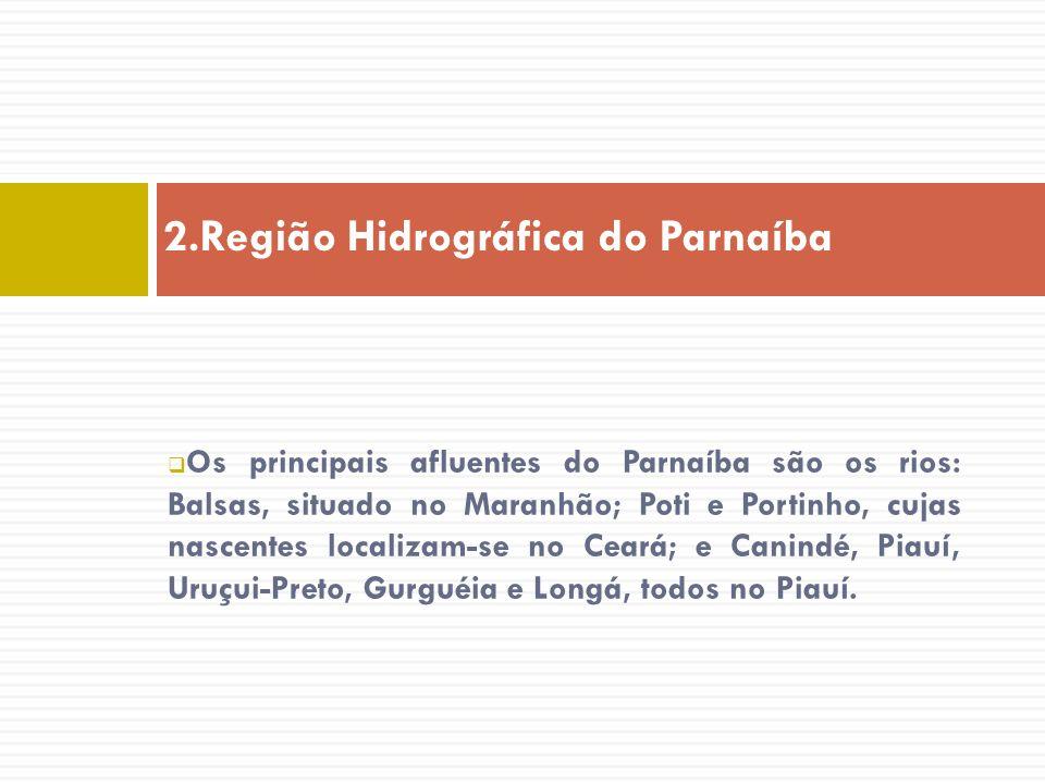 Os principais afluentes do Parnaíba são os rios: Balsas, situado no Maranhão; Poti e Portinho, cujas nascentes localizam-se no Ceará; e Canindé, Piauí