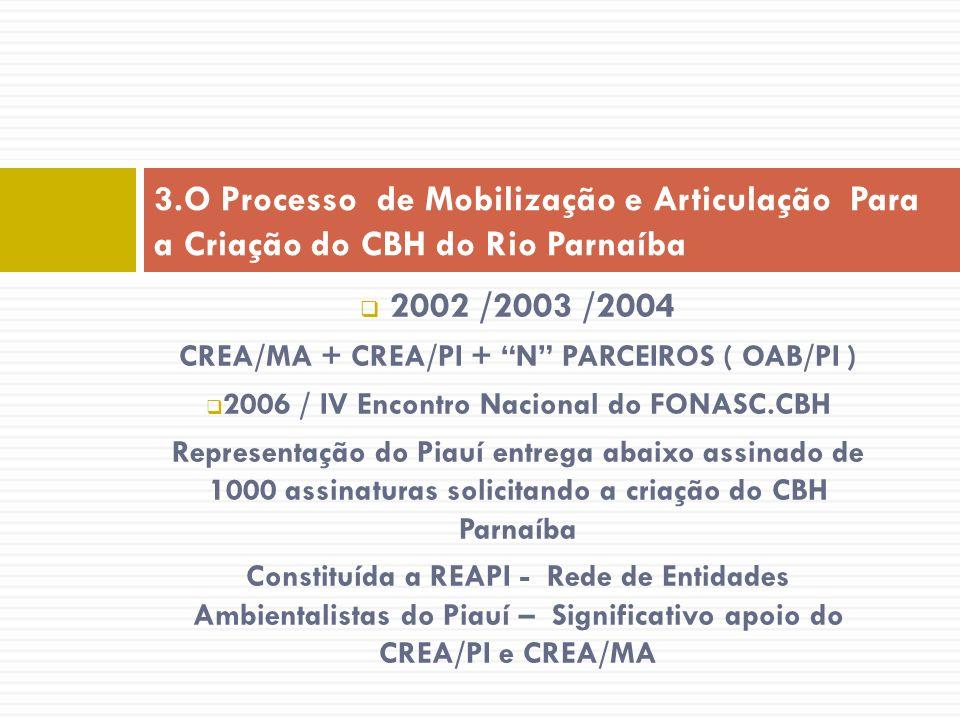 2002 /2003 /2004 CREA/MA + CREA/PI + N PARCEIROS ( OAB/PI ) 2006 / IV Encontro Nacional do FONASC.CBH Representação do Piauí entrega abaixo assinado d