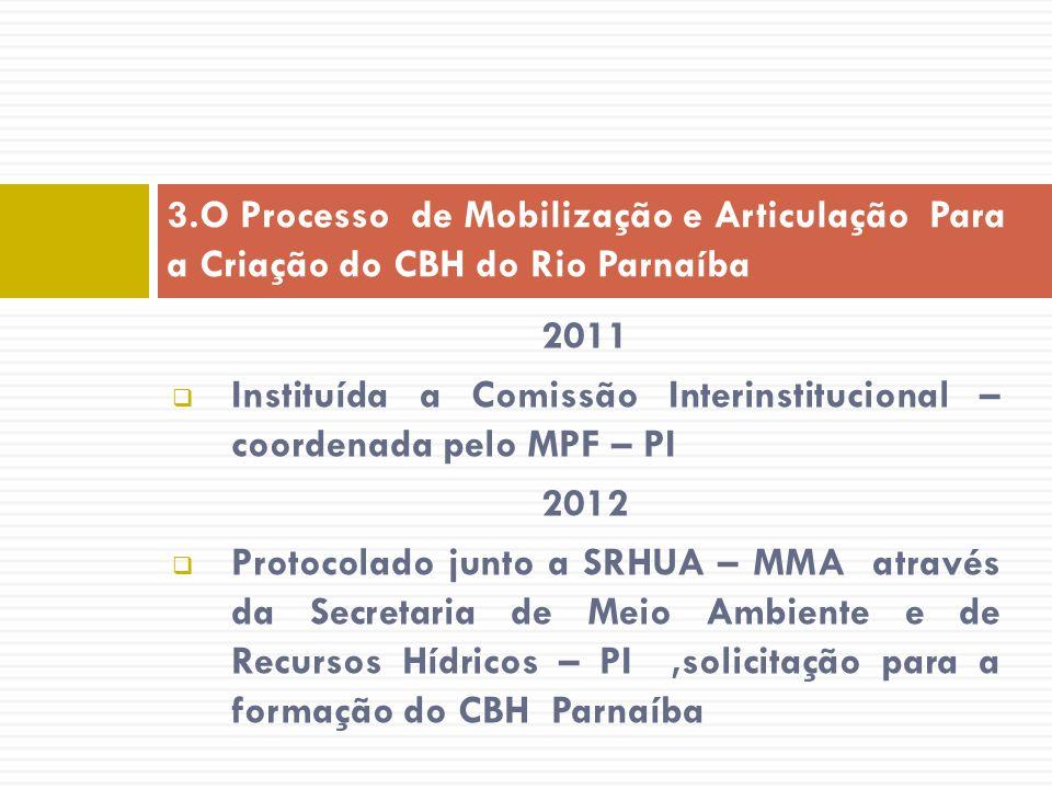 2011 Instituída a Comissão Interinstitucional – coordenada pelo MPF – PI 2012 Protocolado junto a SRHUA – MMA através da Secretaria de Meio Ambiente e