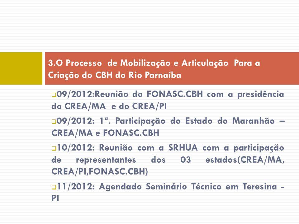 09/2012:Reunião do FONASC.CBH com a presidência do CREA/MA e do CREA/PI 09/2012: 1ª. Participação do Estado do Maranhão – CREA/MA e FONASC.CBH 10/2012