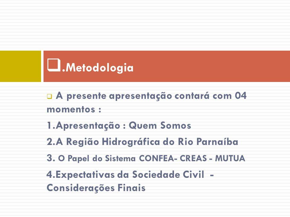 A presente apresentação contará com 04 momentos : 1.Apresentação : Quem Somos 2.A Região Hidrográfica do Rio Parnaíba 3. O Papel do Sistema CONFEA- CR