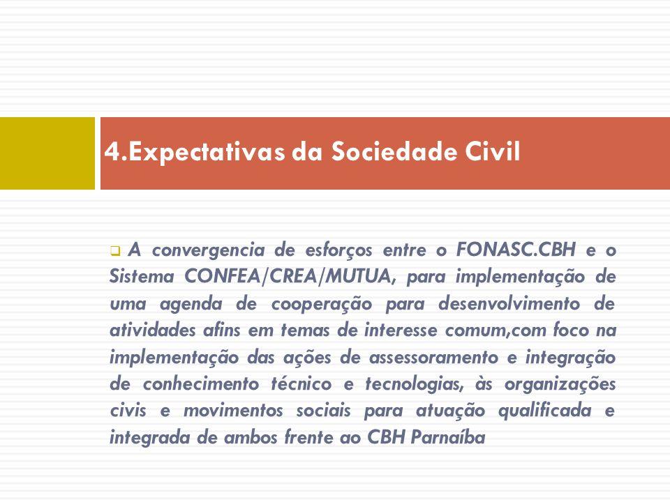 A convergencia de esforços entre o FONASC.CBH e o Sistema CONFEA/CREA/MUTUA, para implementação de uma agenda de cooperação para desenvolvimento de at