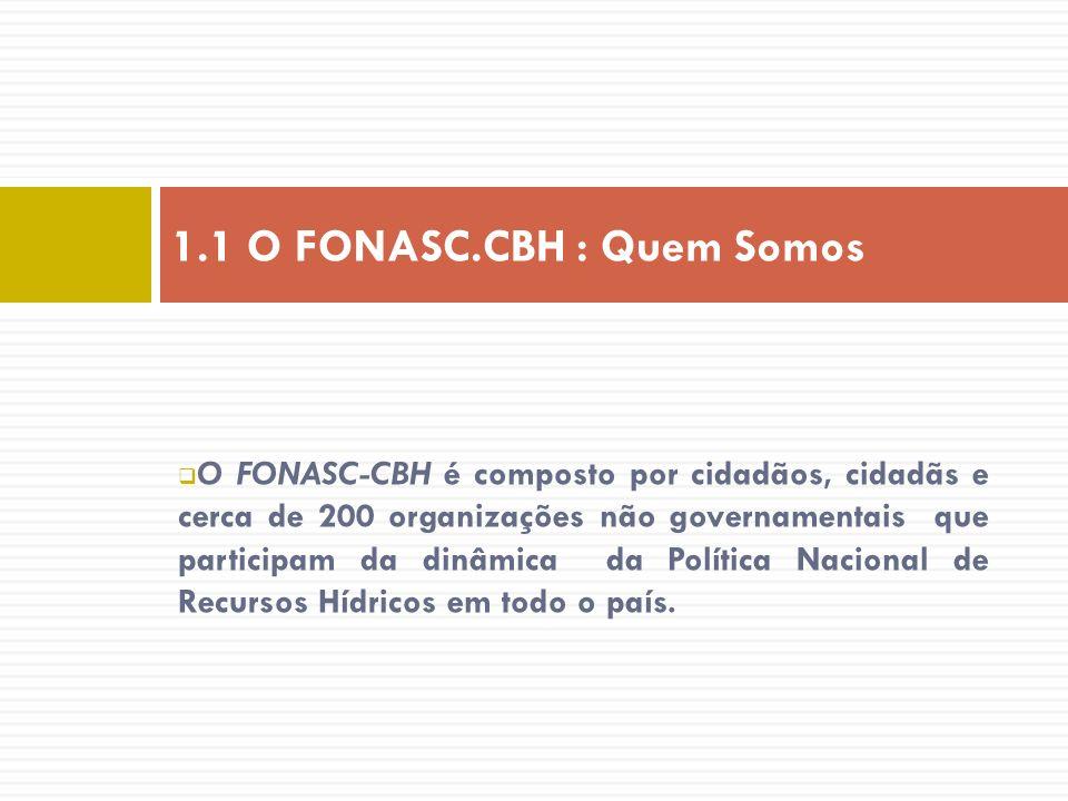 O FONASC-CBH é composto por cidadãos, cidadãs e cerca de 200 organizações não governamentais que participam da dinâmica da Política Nacional de Recurs