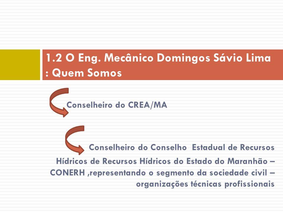 Conselheiro do CREA/MA Conselheiro do Conselho Estadual de Recursos Hídricos de Recursos Hídricos do Estado do Maranhão – CONERH,representando o segme