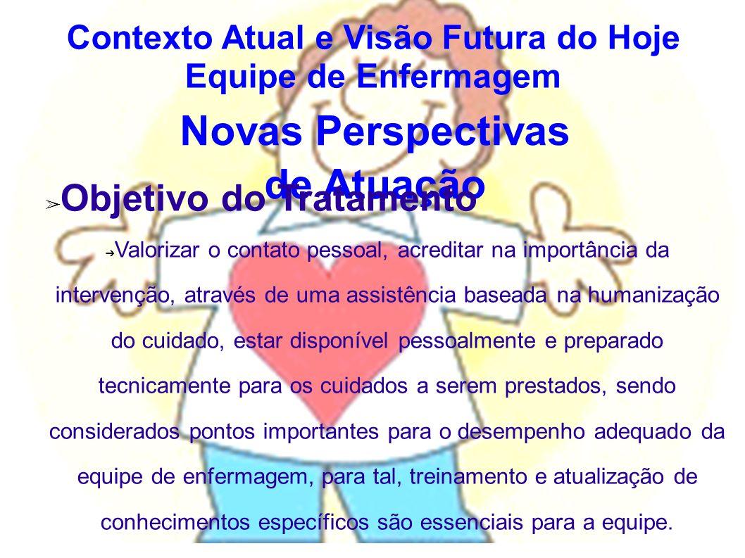 Novas Perspectivas de Atuação Objetivo do Tratamento Valorizar o contato pessoal, acreditar na importância da intervenção, através de uma assistência