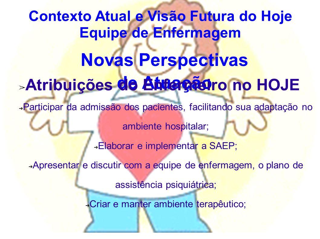 Novas Perspectivas de Atuação Atribuições do Enfermeiro no HOJE Participar da admissão dos pacientes, facilitando sua adaptação no ambiente hospitalar