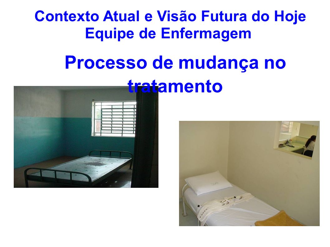 Contexto Atual e Visão Futura do Hoje Equipe de Enfermagem Processo de mudança no tratamento