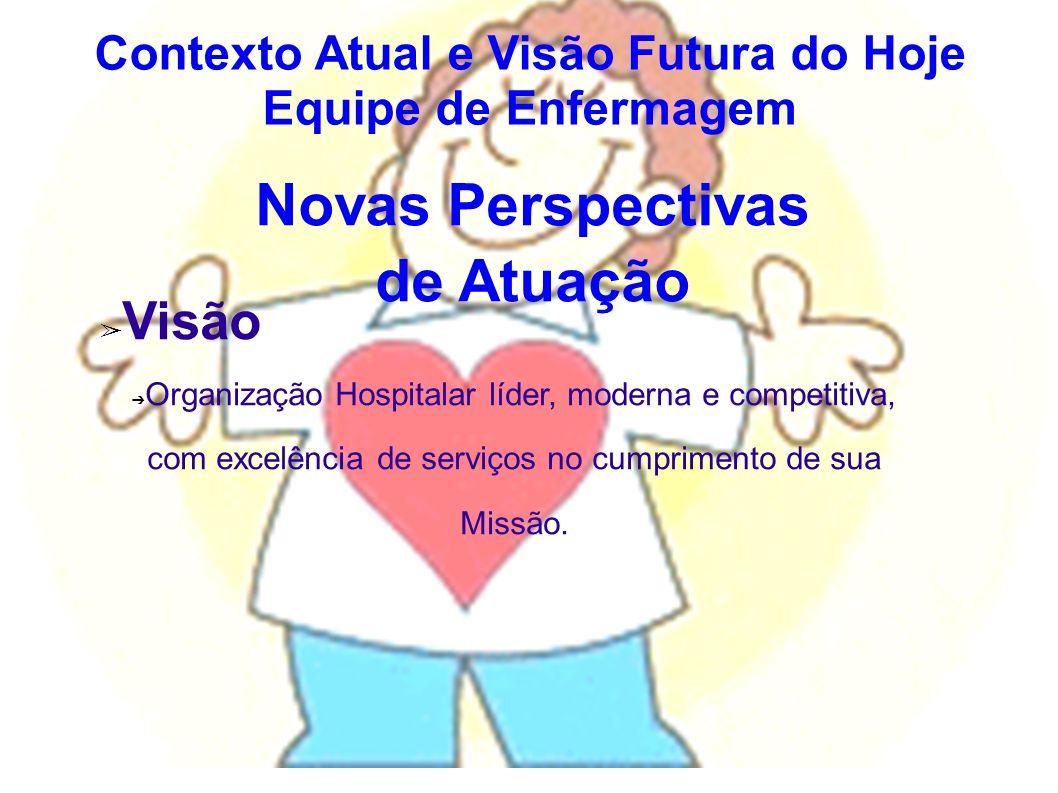 Novas Perspectivas de Atuação Visão Organização Hospitalar líder, moderna e competitiva, com excelência de serviços no cumprimento de sua Missão. Cont