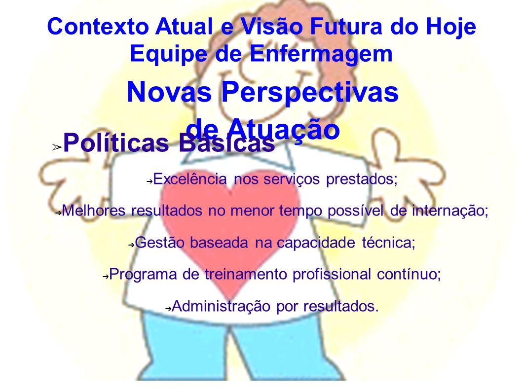 Novas Perspectivas de Atuação Políticas Básicas Excelência nos serviços prestados; Melhores resultados no menor tempo possível de internação; Gestão b