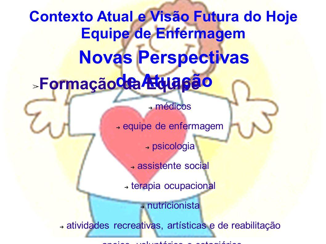 Novas Perspectivas de Atuação Formação da Equipe médicos equipe de enfermagem psicologia assistente social terapia ocupacional nutricionista atividade