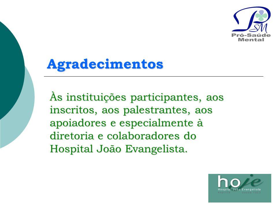 Agradecimentos Às instituições participantes, aos inscritos, aos palestrantes, aos apoiadores e especialmente à diretoria e colaboradores do Hospital
