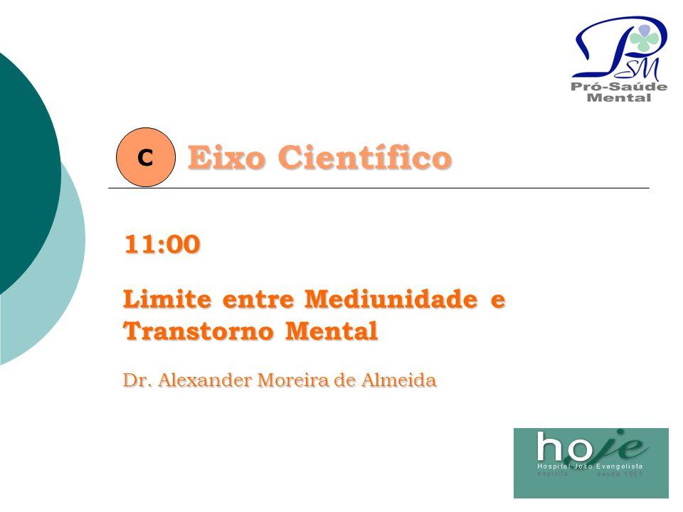 Eixo Científico C11:00 Limite entre Mediunidade e Transtorno Mental Dr. Alexander Moreira de Almeida