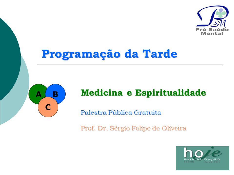 Medicina e Espiritualidade Palestra Pública Gratuita Prof. Dr. Sérgio Felipe de Oliveira AB C Programação da Tarde