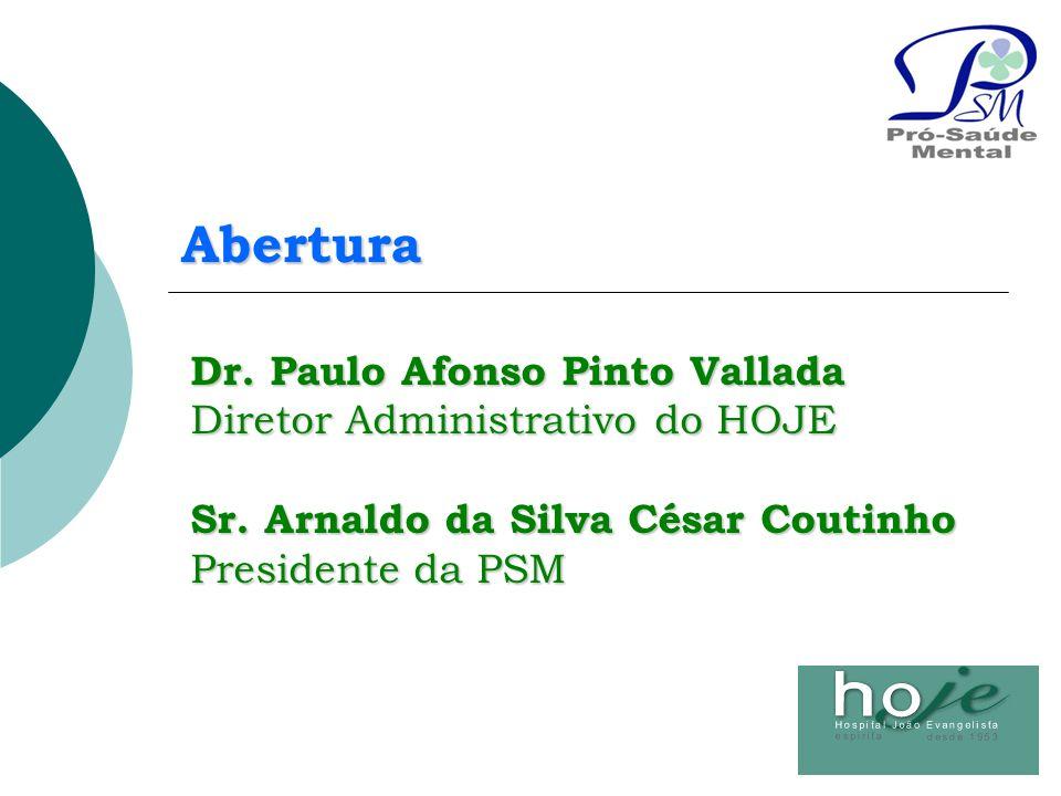 Abertura Dr. Paulo Afonso Pinto Vallada Diretor Administrativo do HOJE Sr. Arnaldo da Silva César Coutinho Presidente da PSM