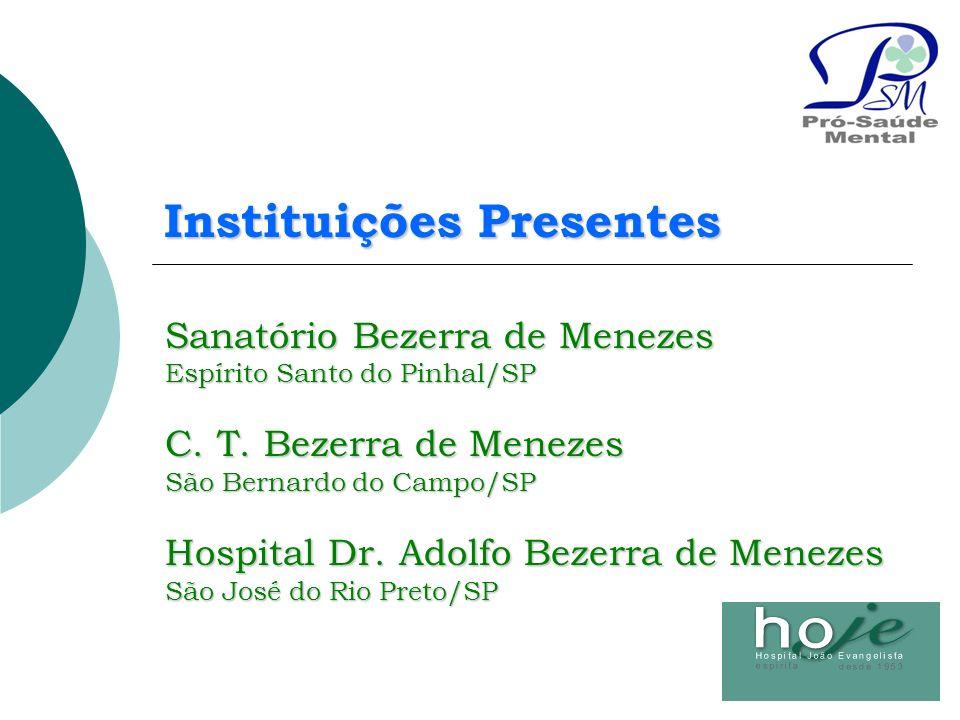 Sanatório Bezerra de Menezes Espírito Santo do Pinhal/SP C. T. Bezerra de Menezes São Bernardo do Campo/SP Hospital Dr. Adolfo Bezerra de Menezes São