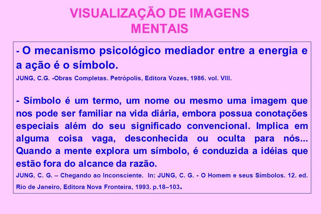 VISUALIZAÇÃO DE IMAGENS MENTAIS - O mecanismo psicológico mediador entre a energia e a ação é o símbolo. JUNG, C.G. -Obras Completas. Petrópolis, Edit