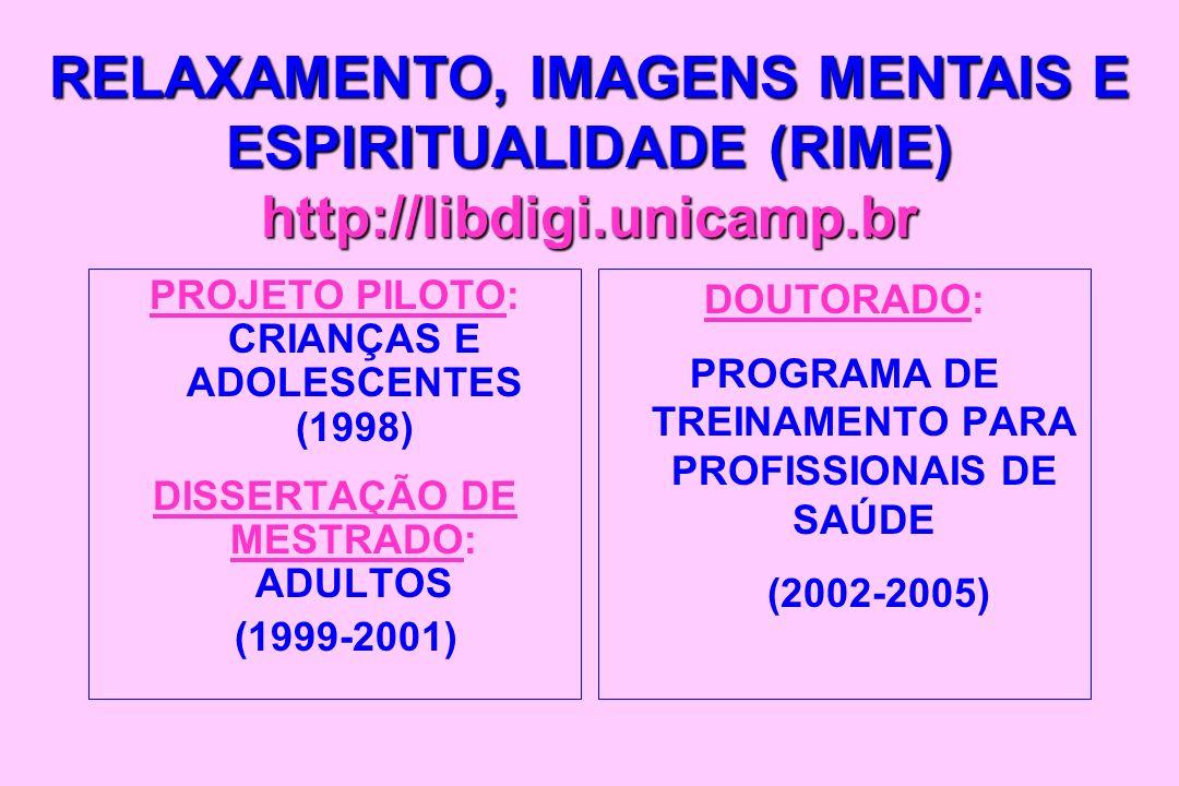 PROJETO PILOTO: CRIANÇAS E ADOLESCENTES (1998) DISSERTAÇÃO DE MESTRADO: ADULTOS (1999-2001) DOUTORADO: PROGRAMA DE TREINAMENTO PARA PROFISSIONAIS DE S