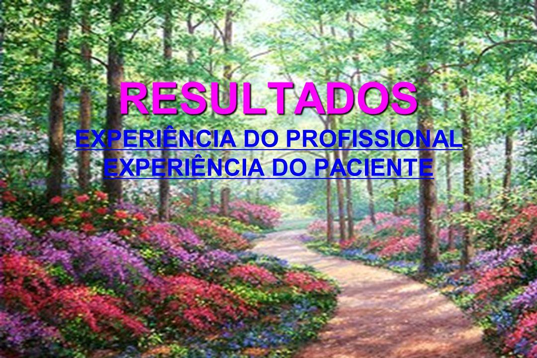 RESULTADOS RESULTADOS EXPERIÊNCIA DO PROFISSIONAL EXPERIÊNCIA DO PACIENTE