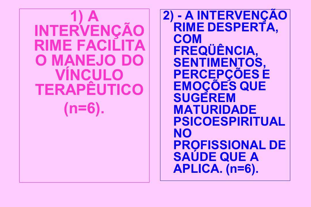 1) A INTERVENÇÃO RIME FACILITA O MANEJO DO VÍNCULO TERAPÊUTICO (n=6). 2) - A INTERVENÇÃO RIME DESPERTA, COM FREQÜÊNCIA, SENTIMENTOS, PERCEPÇÕES E EMOÇ