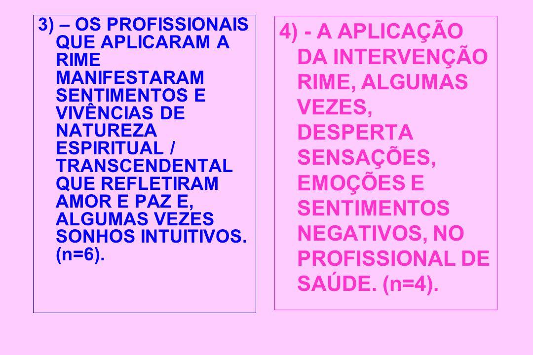 3) – OS PROFISSIONAIS QUE APLICARAM A RIME MANIFESTARAM SENTIMENTOS E VIVÊNCIAS DE NATUREZA ESPIRITUAL / TRANSCENDENTAL QUE REFLETIRAM AMOR E PAZ E, A