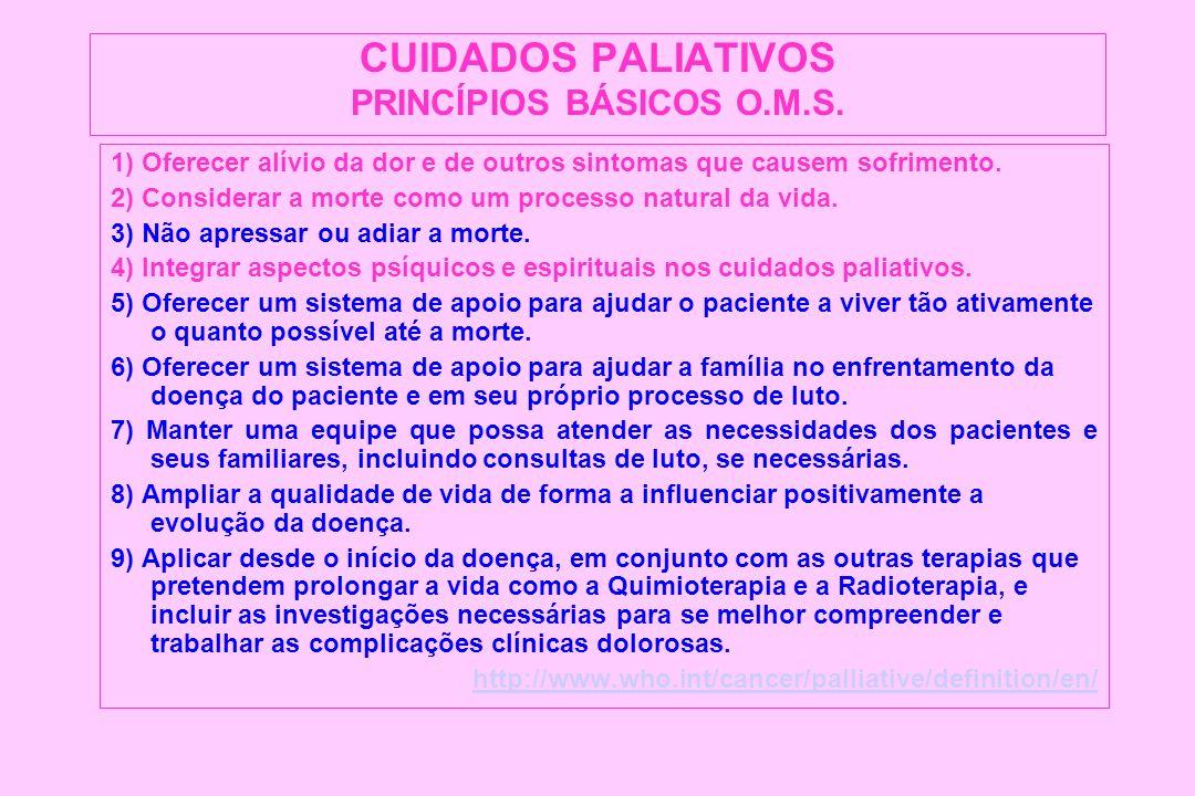CUIDADOS PALIATIVOS PRINCÍPIOS BÁSICOS O.M.S. 1) Oferecer alívio da dor e de outros sintomas que causem sofrimento. 2) Considerar a morte como um proc