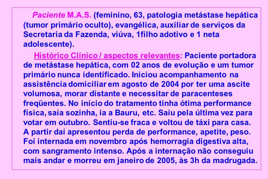 Paciente M.A.S. (feminino, 63, patologia metástase hepática (tumor primário oculto), evangélica, auxiliar de serviços da Secretaria da Fazenda, viúva,