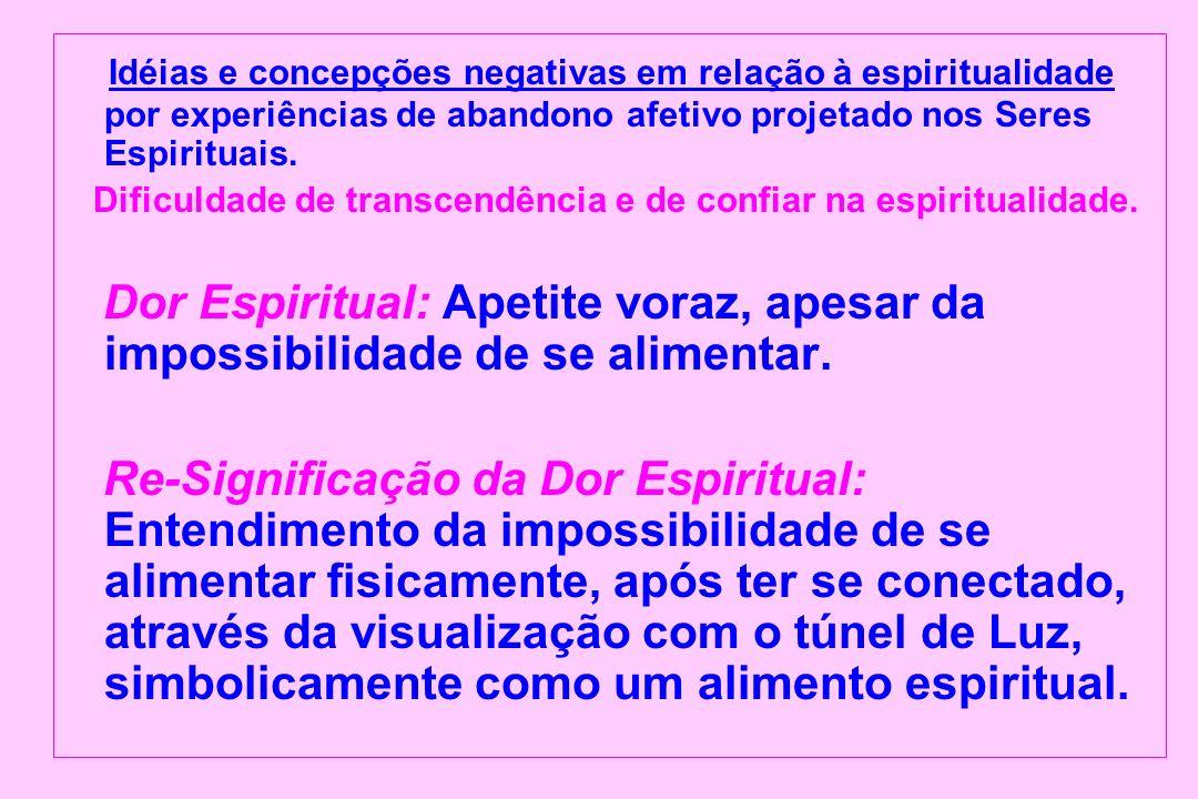 Idéias e concepções negativas em relação à espiritualidade por experiências de abandono afetivo projetado nos Seres Espirituais. Dificuldade de transc