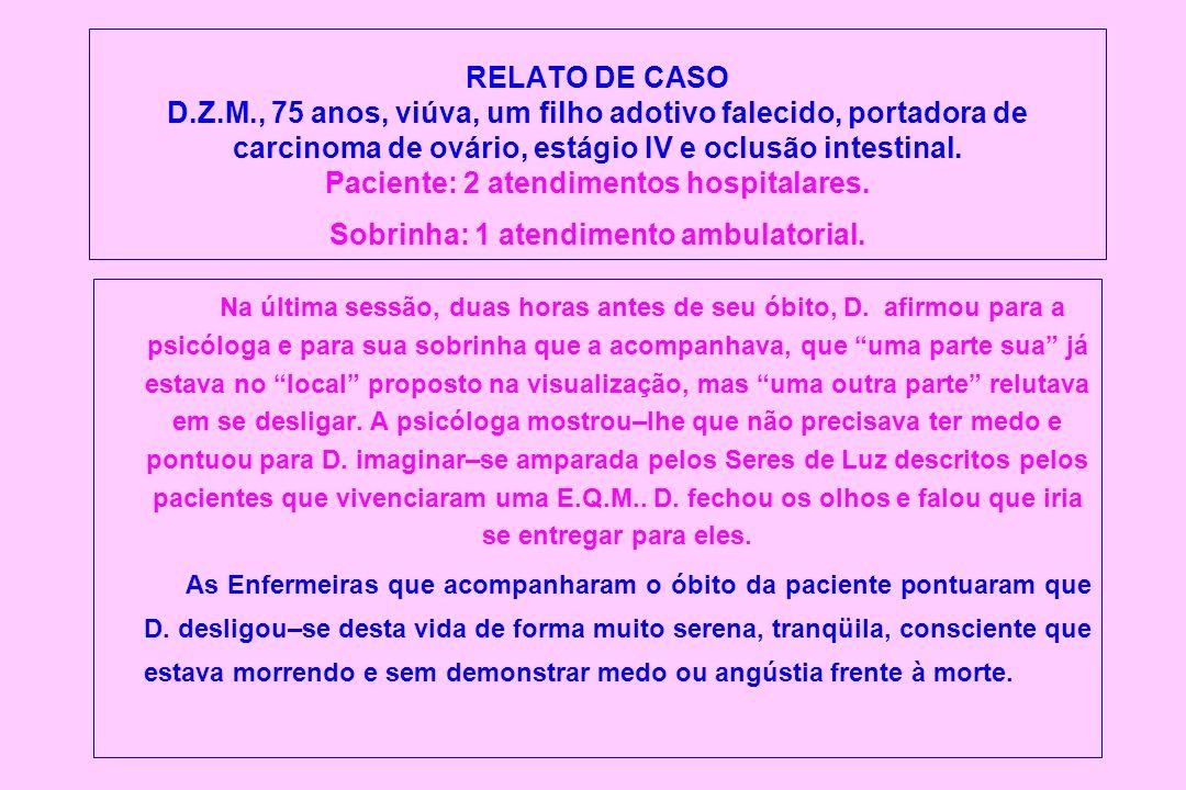 RELATO DE CASO D.Z.M., 75 anos, viúva, um filho adotivo falecido, portadora de carcinoma de ovário, estágio IV e oclusão intestinal. Paciente: 2 atend