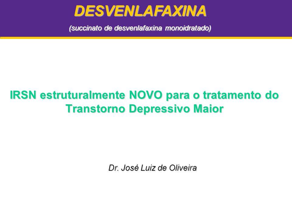 Desvenlafaxina: Ensaios Clínicos de Eficácia em TDM Critérios Comuns: Desenho –Randomizado, duplo-cego, controlado por placebo Duração –8 semanas Pacientes –Pacientes ambulatoriais adultos com Transtorno Depressivo Maior (TDM)(HAM-D 17 20 no basal) Endpoint primário –Mudança na Escala de Avaliação para Depressão de Hamilton (HAM-D 17 ) a partir do basal Endpoints secundários –Escala de HAM-D 17 e MADRS: taxas de resposta e remissão –Alteração na Impressão Clínica Global de Melhora (CGI-I) a partir do basal –Escala de HAM-D 6 (6 itens) –Avaliação da função do indivíduo através da Escala de Sheehan Dados de arquivo, Wyeth Pharmaceuticals Inc.