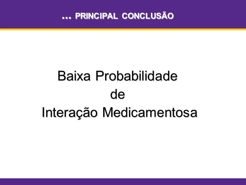 ... PRINCIPAL CONCLUSÃO Baixa Probabilidade de Interação Medicamentosa Interação Medicamentosa